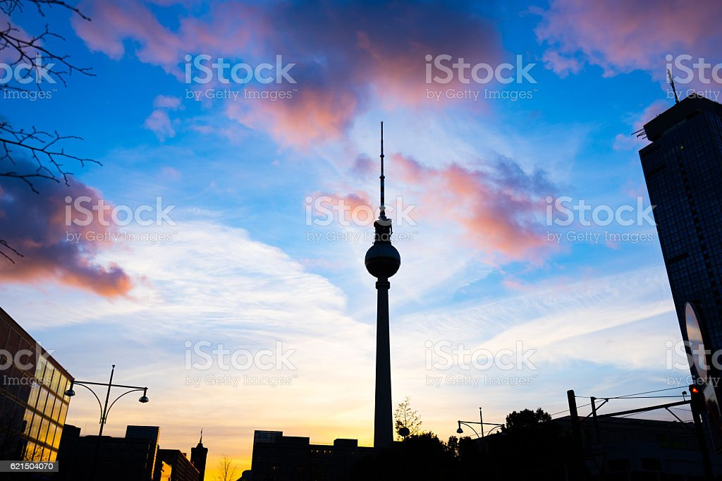 silhouette of Alexanderplatz in Berlin during sunset foto stock royalty-free