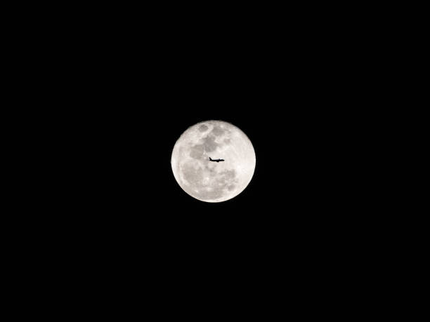 Silhouette of an airplane flying across a full moon. stock photo