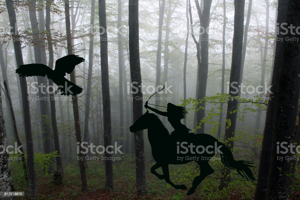 Silhouette of an amazon warrior woman riding a horse with bow and arrow stock photo