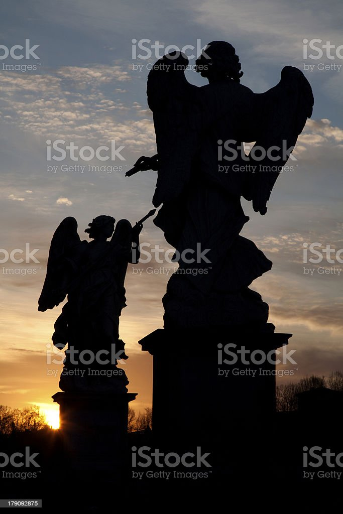 silhouette of angels from Rome - ponte sant'angelo royalty-free stock photo