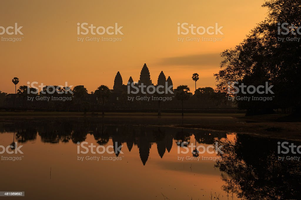 Silhouette of Angkor Wat in sunrise at Siem Reap, Cambodia stock photo