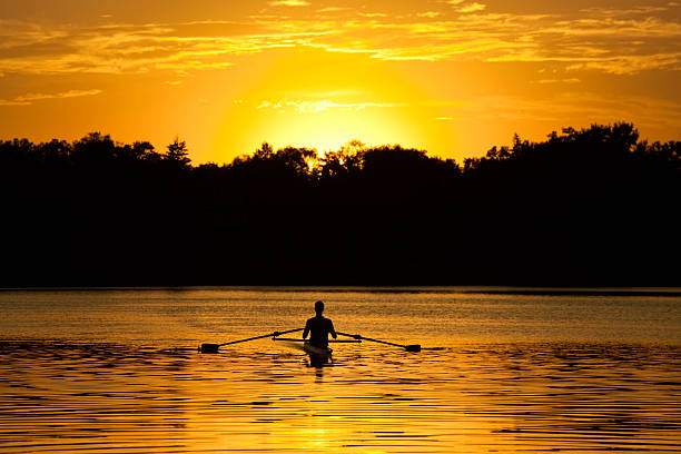 silhouette of athlete in rowboat on lake in sunset - young singles stock photos and pictures