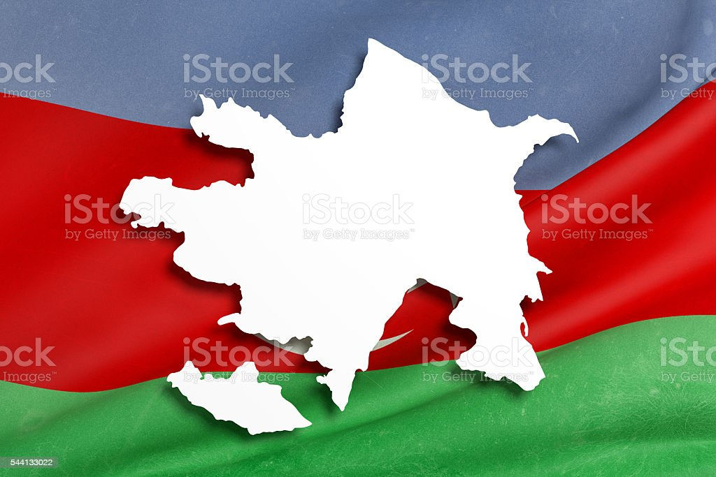 Silhouette Of Azerbaijan Map With Flag Stock Photo Download Image Now Istock