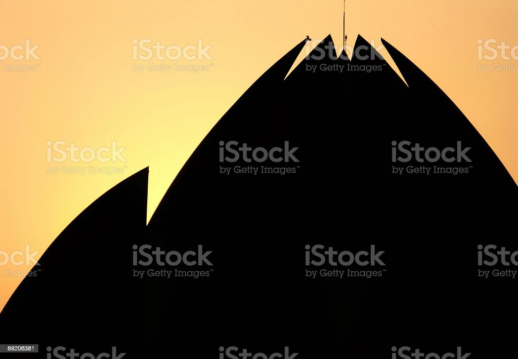 Silhouette of  Bahai temple at sunset ,New Delhi,India royalty-free stock photo