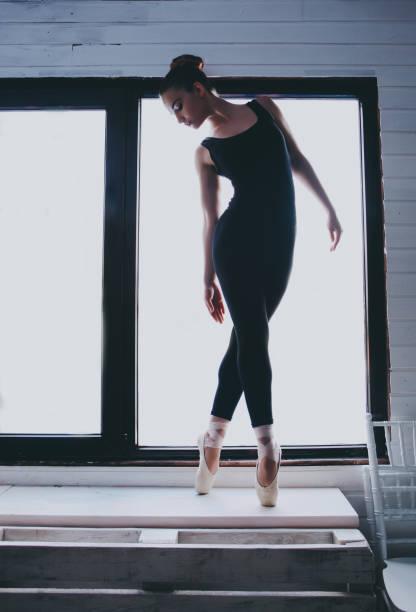 Silhouette of ballerina. stock photo