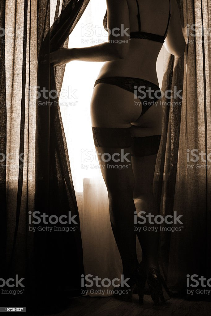 Silhouette of beautiful woman in shoes, black lingerie from behind stock photo