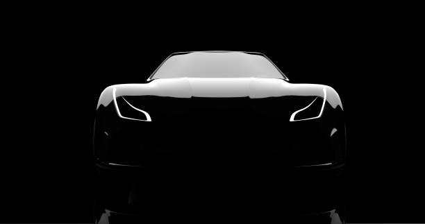 silhouette of black sports car on black silhouette of black sports car on black background, 3d render, generic design, non-branded concept car stock pictures, royalty-free photos & images