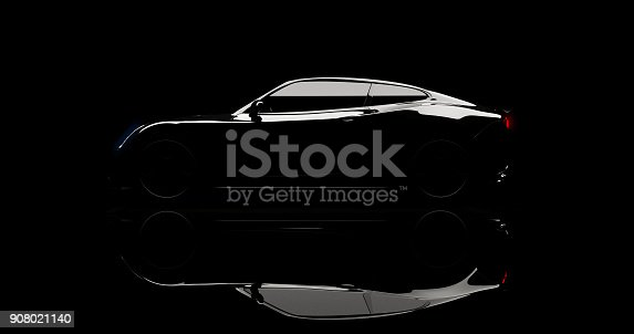 istock silhouette of black sports car on black 908021140
