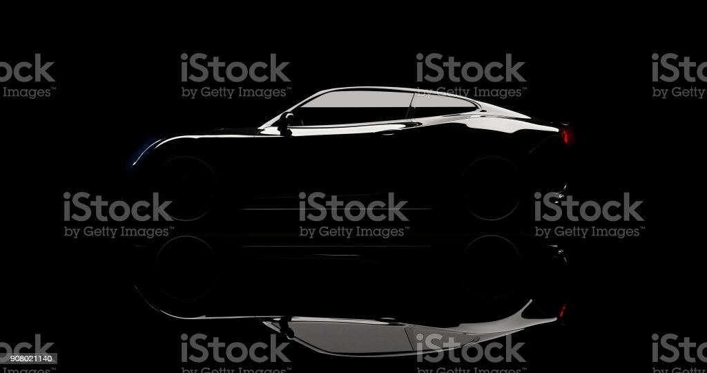 silhouette of black sports car on black - foto stock