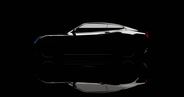 silhouette of black sports car on black silhouette of black sports car on black background, photorealistic 3d render, generic design, non-branded luxury car stock pictures, royalty-free photos & images