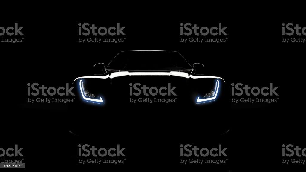 silhouette of black sports car on black stock photo