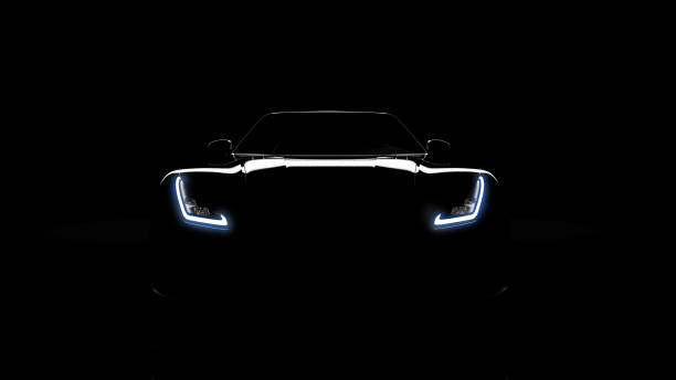silhouette of black sports car on black silhouette of black sports car with headlights on black background, photorealistic 3d render, generic design, non-branded headlight stock pictures, royalty-free photos & images