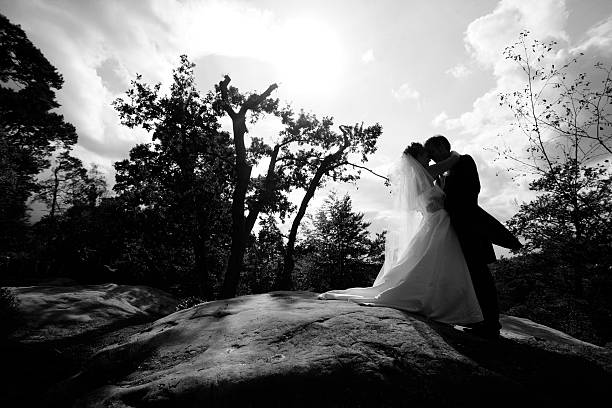 Silhouette of Bride and Groom Standing on Large Rock stock photo