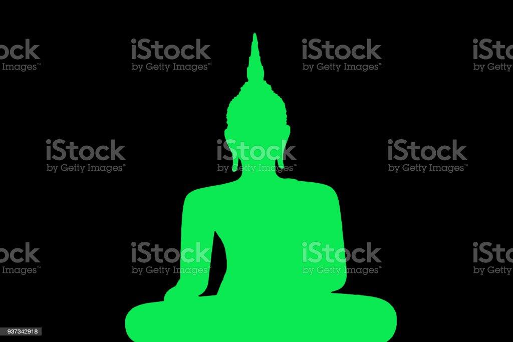 Silhouette Of buddha statue stock photo