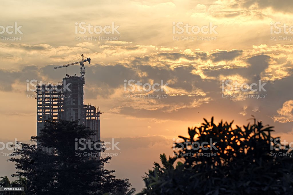Silhouette of Building under Construction royalty-free stock photo