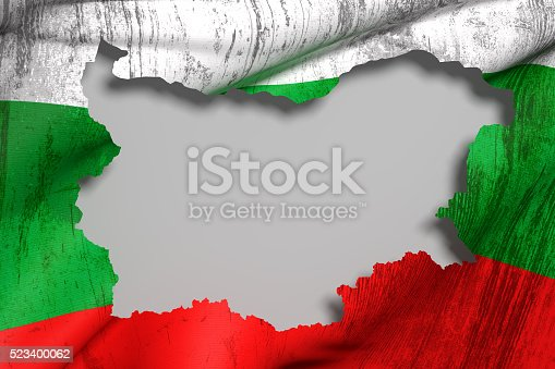 istock Silhouette of  Bulgaria map with flag 523400062