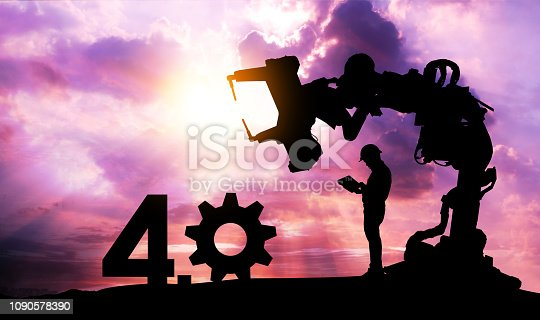 istock Silhouette of business man command automation robot arm machine technology , industry 4.0 , artificial intelligence trend concept. Sunrise twilight background. 1090578390