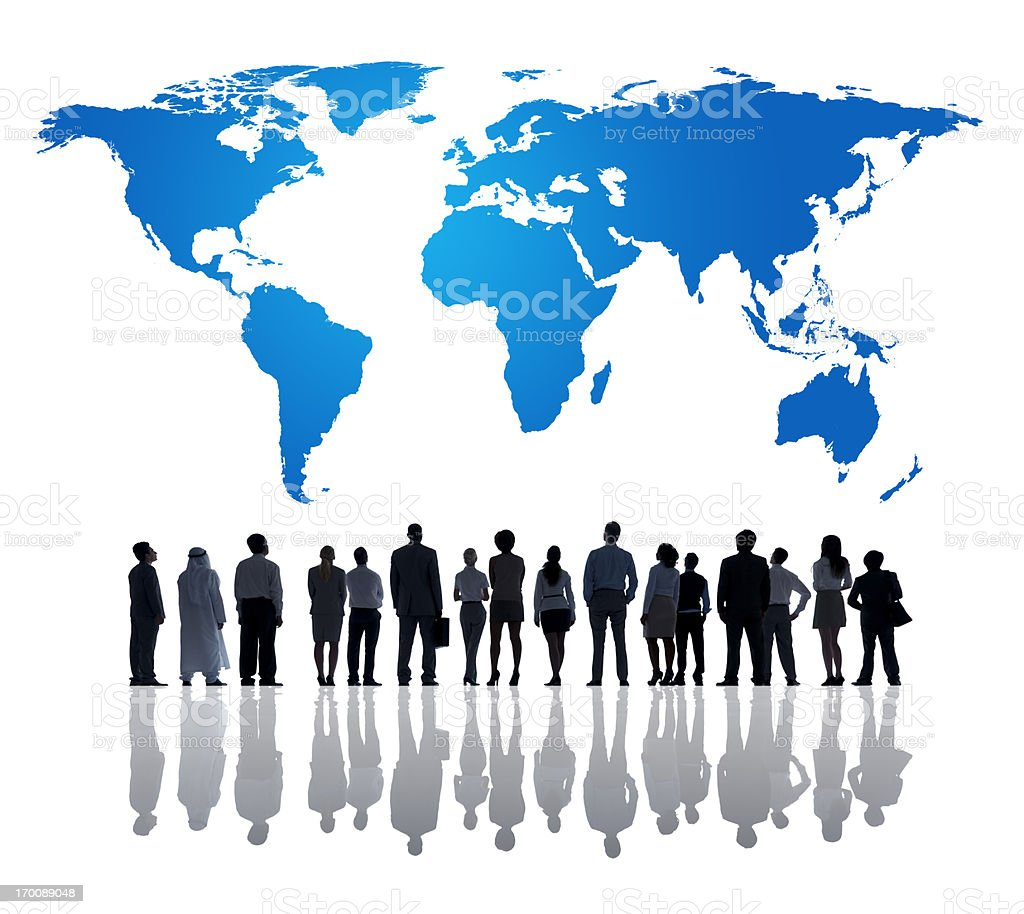 Silhouette of business people looking at world map stock photo silhouette of business people looking at world map royalty free stock photo gumiabroncs Gallery