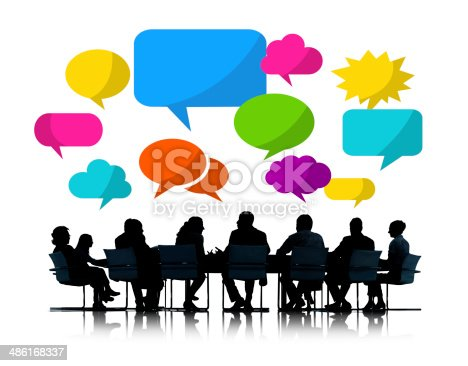 812513444 istock photo Silhouette of Business People Meeting with Speech Bubbles 486168337