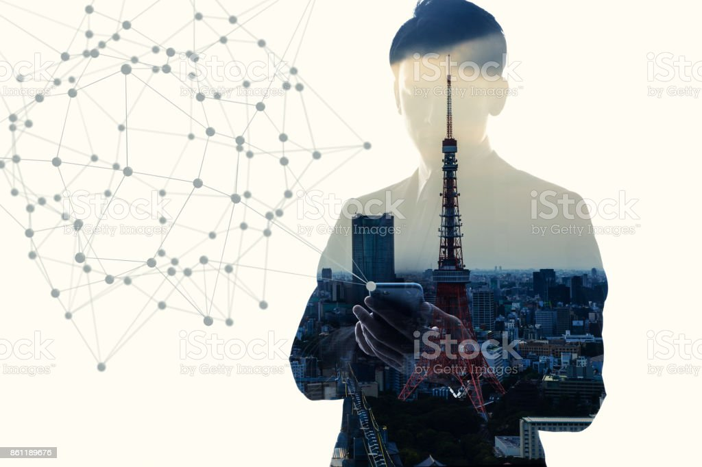 Silhouette of business person. Double exposure. stock photo