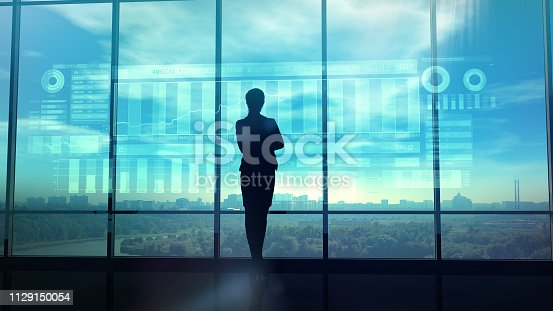 850852928istockphoto Silhouette of business woman and stock exchange infographics 1129150054