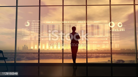 850852928istockphoto Silhouette of business woman and stock exchange infographics 1129150349