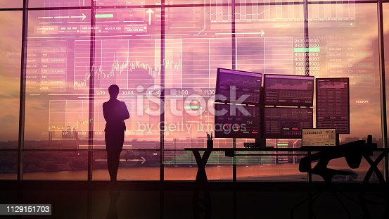 850852928istockphoto Silhouette of business woman and stock exchange infographics 1129151703
