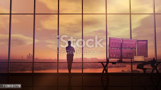 850852928istockphoto Silhouette of business woman and stock exchange infographics 1129151779