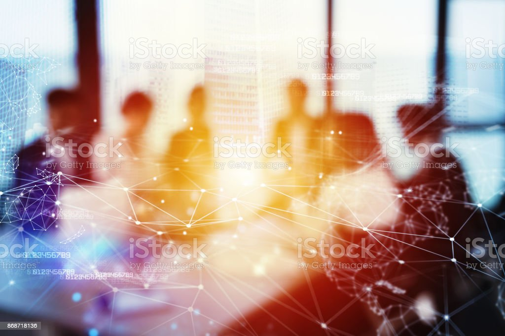 Silhouette of businessperson in office with network effect. concept of partnership and teamwork foto stock royalty-free