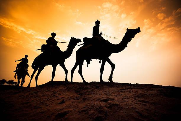 silhueta de caravana de camelos no deserto ao pôr do sol - reis magos imagens e fotografias de stock