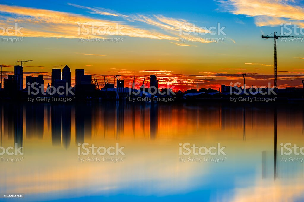 Silhouette of Canary Wharf stock photo