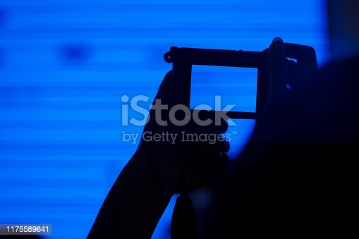 833314292 istock photo Silhouette of cheering crowd use digital camera to take a photo 1175589641