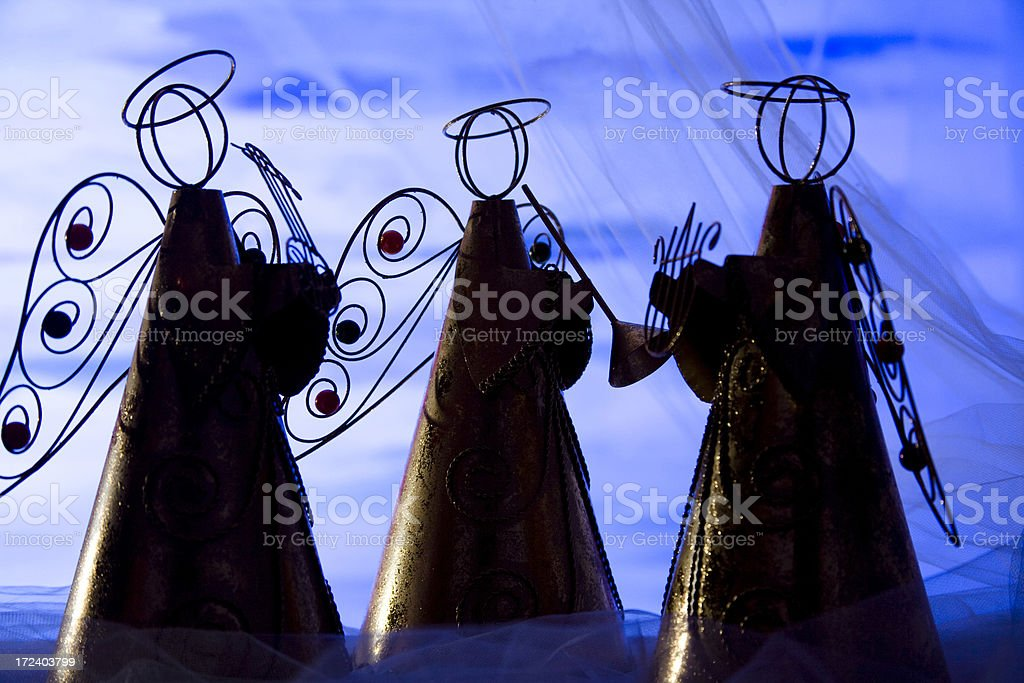 Silhouette of Christmas Angels royalty-free stock photo