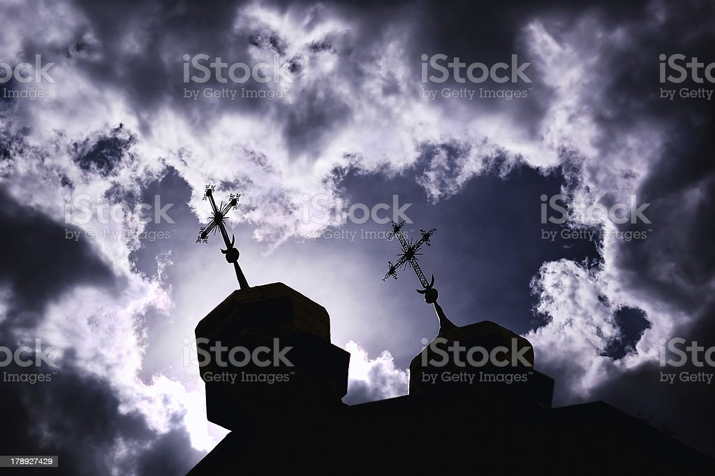 silhouette of church with crosses royalty-free stock photo