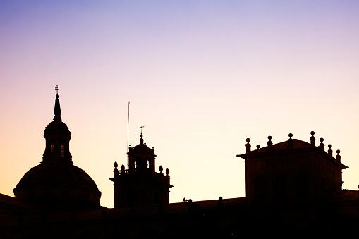 """Silhouette of """"Colegio Nuestra Senora da Antiga"""", Monforte, Lugo, Spain."""
