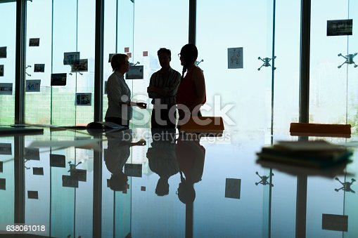 637940820 istock photo Silhouette of colleagues meeting in office conference room 638061018