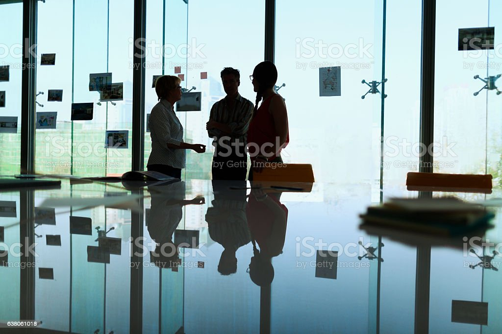 Silhouette of colleagues meeting in office conference room stock photo