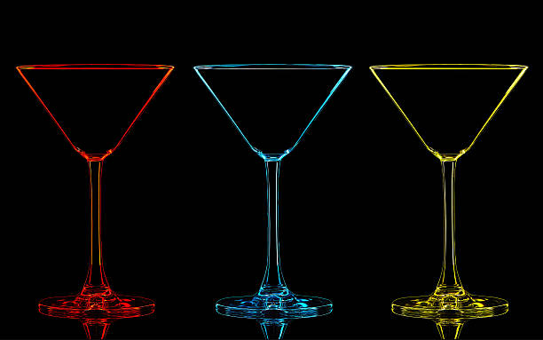 silhouette of color martini glass on black - partylabels stock-fotos und bilder