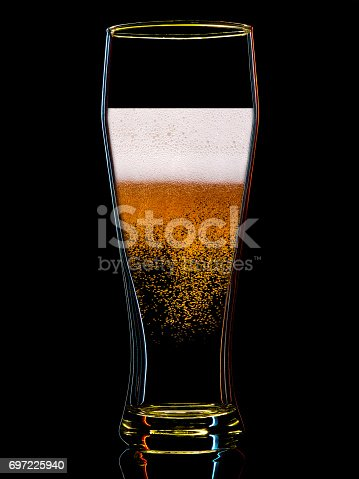 1140718043 istock photo Silhouette of colorful beer glass on black 697225940