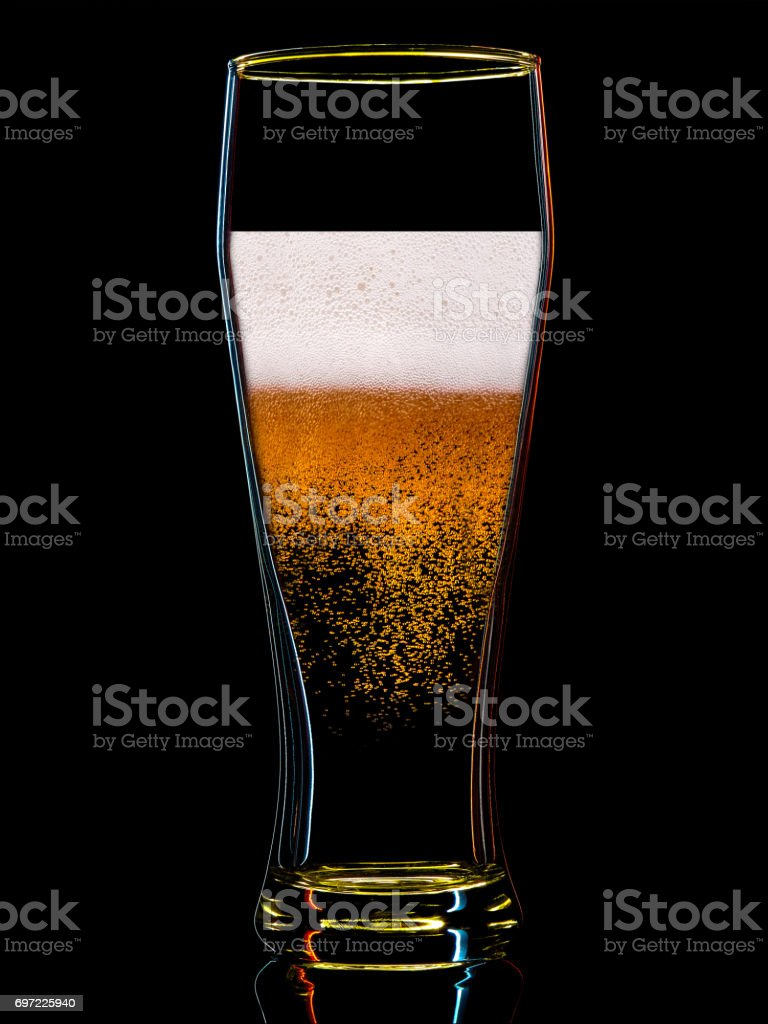 Silhouette of colorful beer glass on black stock photo