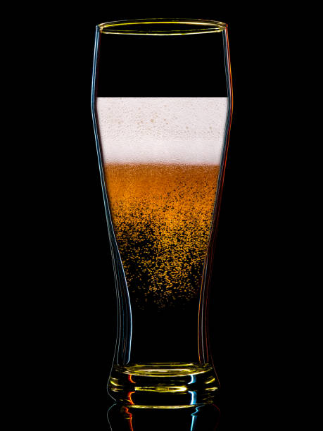 silhouette of colorful beer glass on black - abstract logo stock photos and pictures
