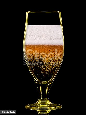 1140718043 istock photo Silhouette of colorful beer glass on black 697226022