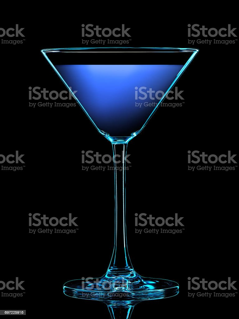Silhouette of colorful martini glass on black stock photo