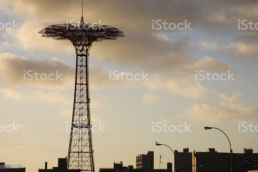 Silhouette of Coney Island Parachute Jump royalty-free stock photo