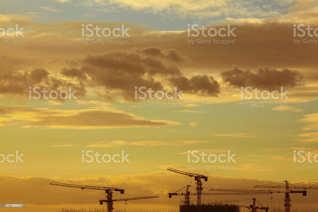 Silhouette of Construction Crane royalty-free stock photo