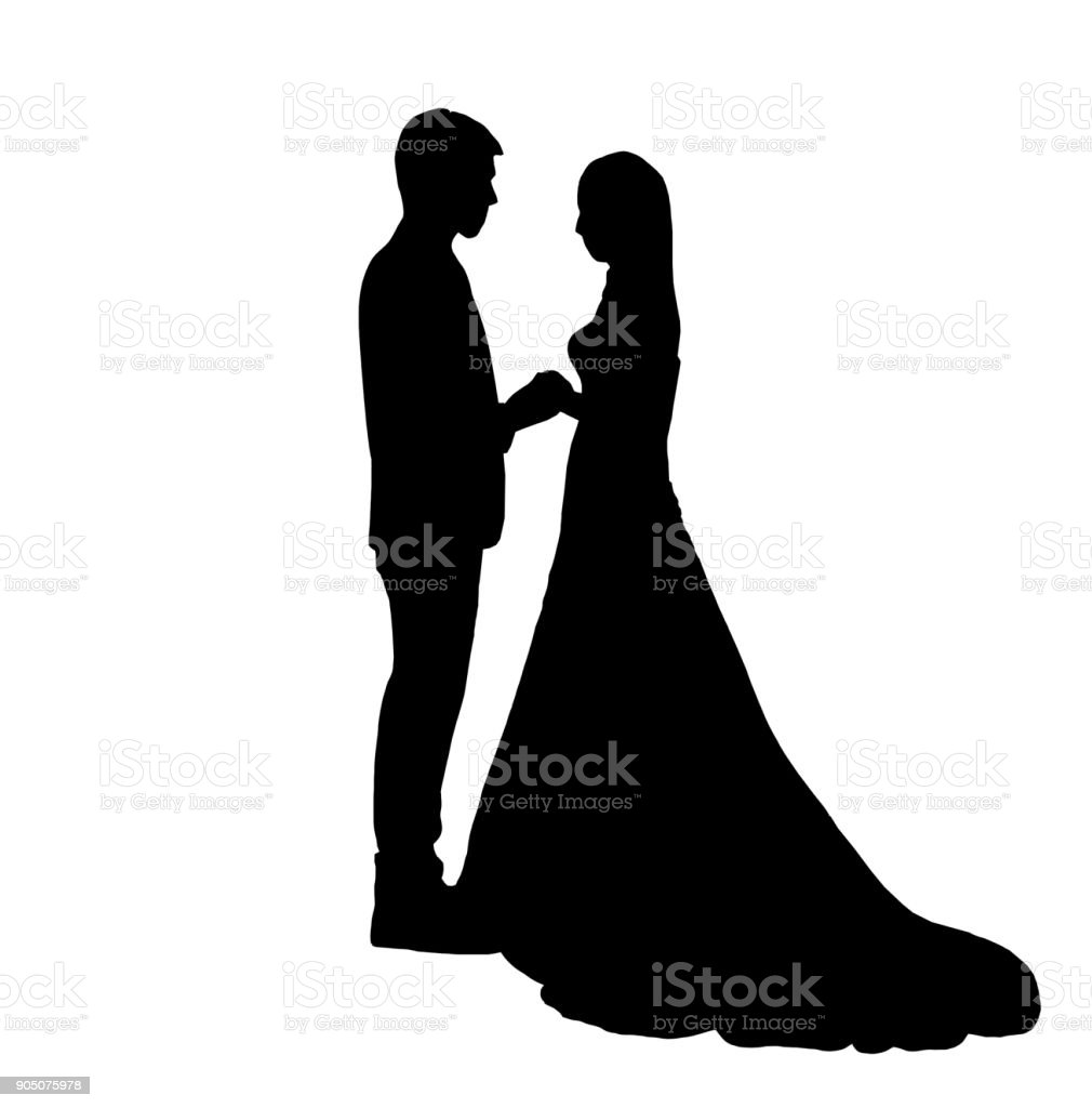 Silhouette of couple stock photo