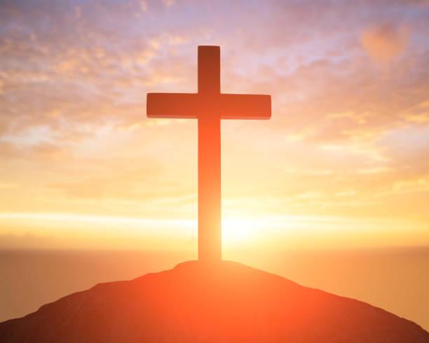 silhouette de cross - jesus croix photos et images de collection
