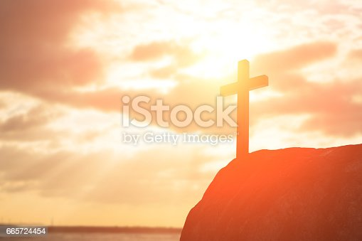 silhouette of cross - symbol of God love to people