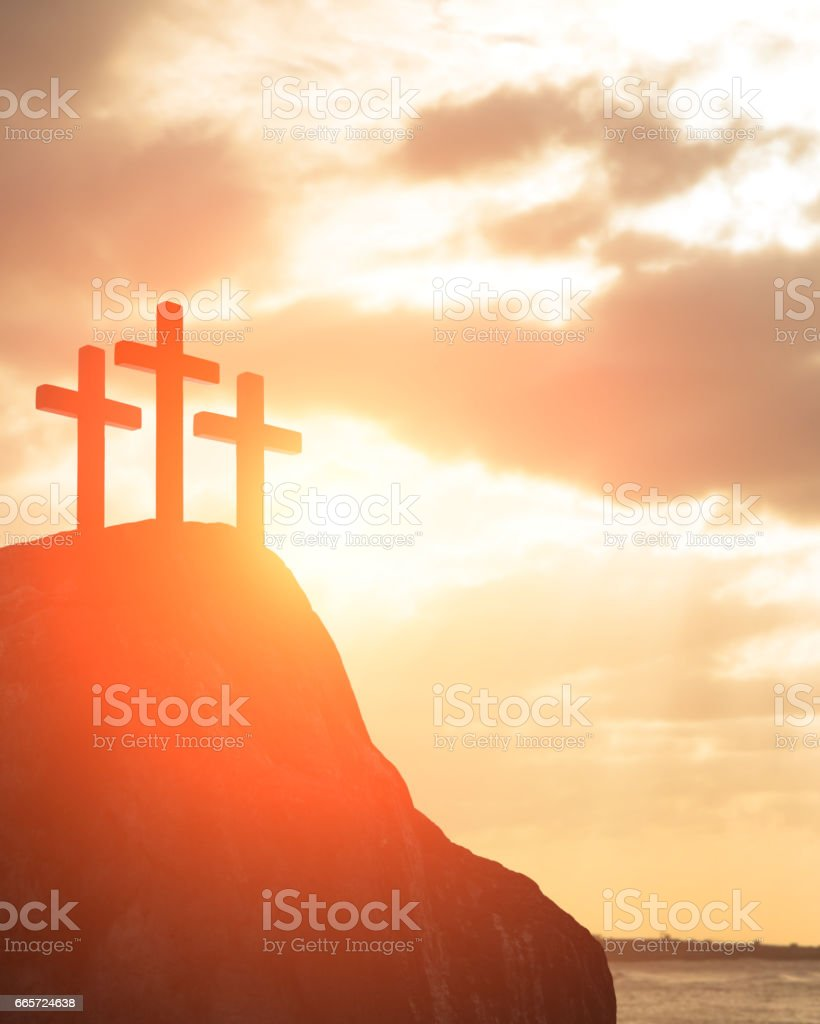 silhouette of cross stock photo