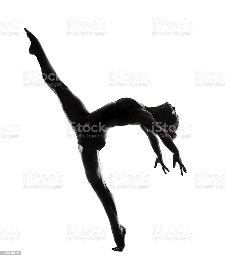 Silhouette of dancer performing against white background royalty-free stock photo